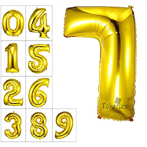 Takefuns 40 inch Gold Number 7 Balloon Birthday Party Decorations Foil Mylar Helium Letter (Party City Letter Balloons)