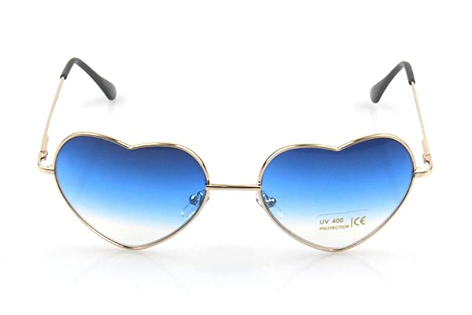 b3a718543 ChezAbbey Women's Gradient Reflective Gold Frame Blue Dark Glasses Cute  Peach Heart Shaped Resin Sunglasses
