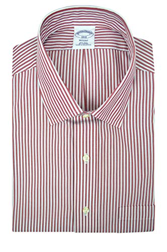 Brooks Brothers Mens Regent Fit Non Iron 100% Cotton Dress Shirt Red White Blue Outline Striped (15