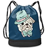 Address Verb Drawstring Backpack with Pocket Multifunctional Sturdy Dog Hat Sackpack Sports Gym Shoulder String Bags