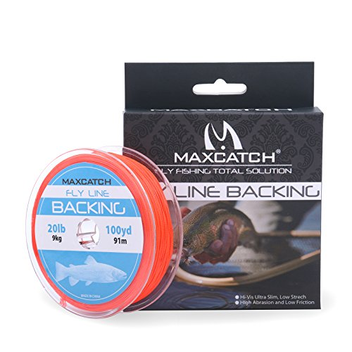 UPC 768390566833, Maxcatch Fly Line Backing for Fly Fishing Braided Different Color 20/30lb 100yards (Orange01, 20lb)