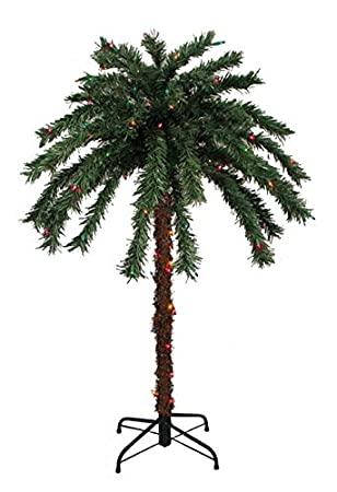 Sienna Pre Lit Tropical Outdoor Summer Patio Palm Tree With Multicolored  Lights, 4u0027