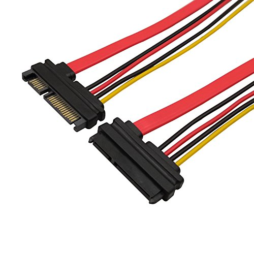 QiCheng&Start 22Pin (7+15) Sata Male to Female Data and Power Combo Extension Cable,Slimline Sata Extension Cable - 20inch (50cm) (Cable Extension Temp)