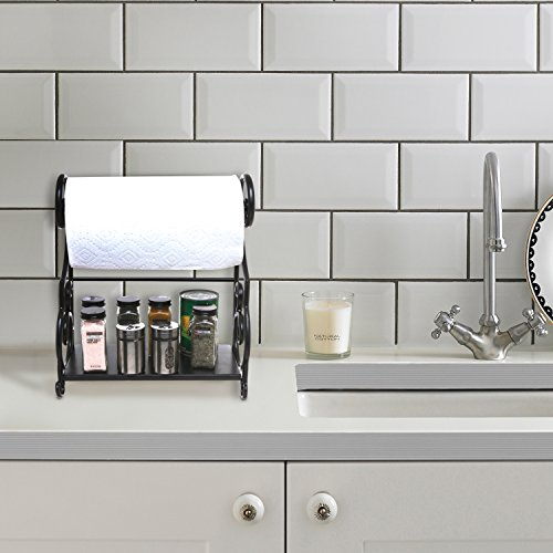 MyGift Black Metal Kitchen Countertop Paper Towel Holder Bar with Condiment Shelf Rack