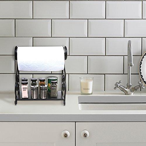 mygift metal kitchen countertop paper towel holder bar with condiment shelf rack home garden. Black Bedroom Furniture Sets. Home Design Ideas