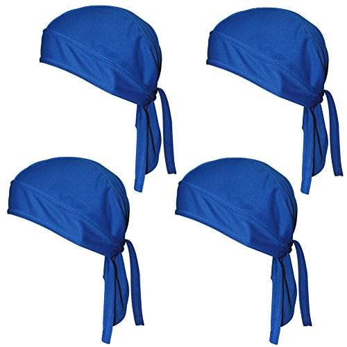 Sweat Wicking Beanie Cap Hat Chemo Cap Skull Cap Head Wrap for Men and Women (Navy Pack of 4) ()