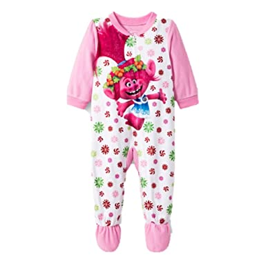 819400cdaf Trolls Toddler Baby Girls Footed Blanket Sleeper Pajamas Snowflake Poppy  (2t) Pink