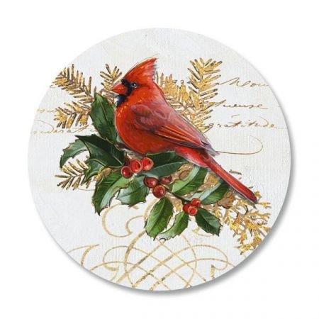 (Birds and Boughs Christmas Envelope Seals - Set of 144 1-1/2 diameter Self-Adhesive, Flat-Sheet holiday sticker Seals)