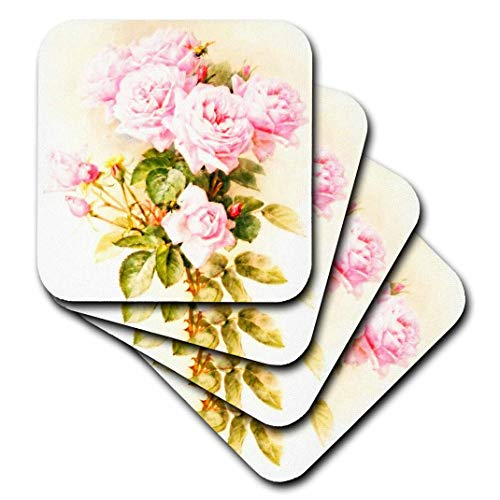 (3dRose CST_151447_3 Paul De Longpre Shabby Chic Vintage Pink Roses Sun-Faded Antique Flowers Fine Art Girly Floral Ceramic Tile Coasters (Set of 4))