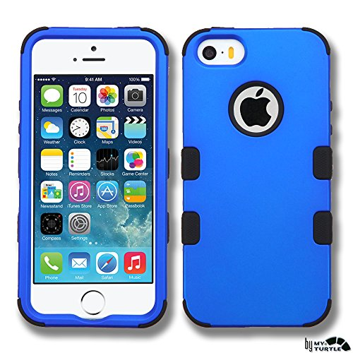 Case Cover Protector Blue (MyTurtle Hybrid Phone Case for iPhone SE 5S 5 Bundled with [9H Tempered Glass] Screen Protector Shock-Absorption and Anti-Scratch Bumper Back Cover (Blue Black))