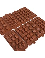 Candy Molds, Silicone Mold for Chocolate Melts, Cakes, Crayons and Gummy Candies, Safe Animal and Flower Shaped Silicon Ice Trays for Various Occasions, BPA Free, 8 Pack Set