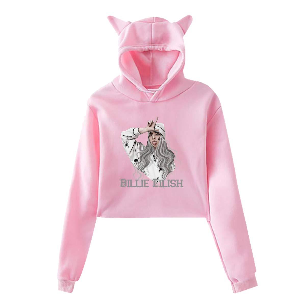 Womens Cat Ear Hoodie Sweater Billie Eilish Lumbar Sweatshirt Hooded Pink