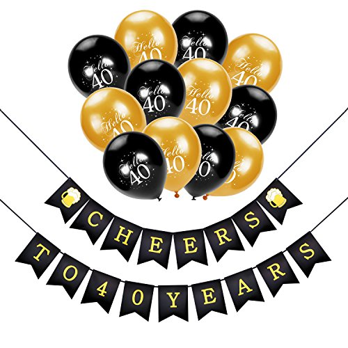 Konsait 40th Birthday Decoration, Cheers to 40 Birthday Banner,Hello 40 Birthday Balloons, Black and Gold,for Man Women Celebration 40th Birthday for 40 Years Old Party Decor Favors Supplies
