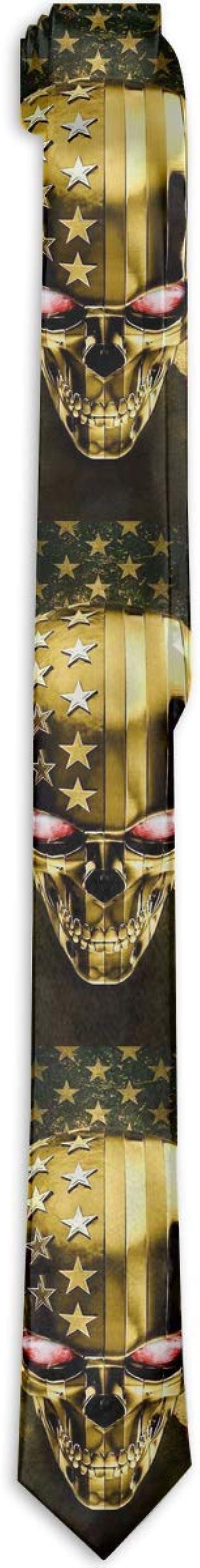 Gold Skull Head USA Flag Corbatas para hombre Novedad Corbata ...
