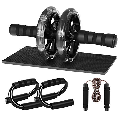 MOVTOTOP AB Roller AB Wheel, 3-in-1 Core Roller Wheel with Push Up Bars, Jump Rope and Knee Pad for for Core, Abdominal Exercise, Legs & Arms Training