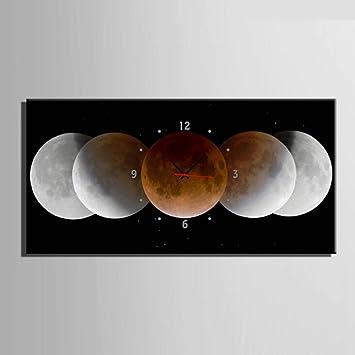 Clock Reloj De Pared Lienzo Pintura Relojes Planeta Luna Tierra Decoración De La Pared Dibujar Sin Marco Pintura Creatividad Colgante Adornos Sala De Estar ...
