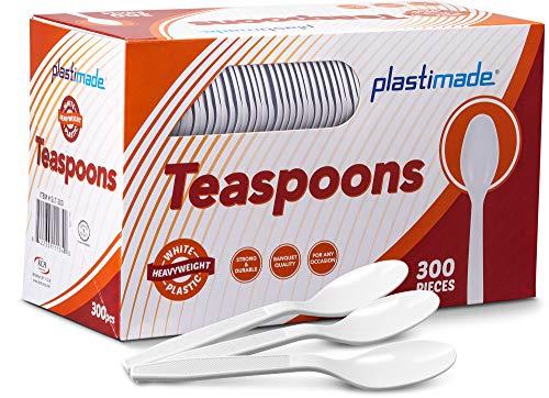(Plastimade Extra Heavyweight White Plastic Disposable Teaspoons. 300 Pack )