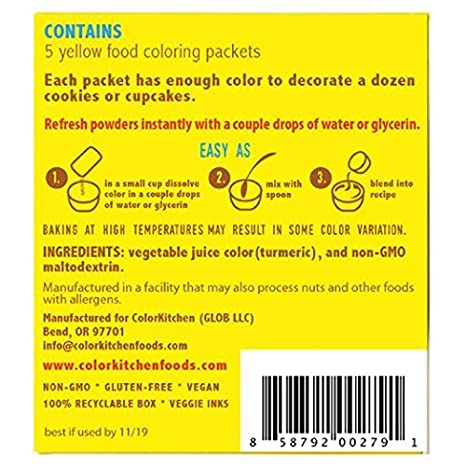 Amazon.com : ColorKitchen Food Color Packets - YELLOW, 5 count ...