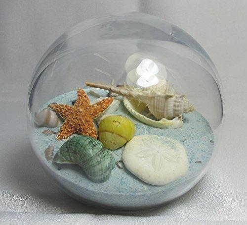 Sand & Shell Sandglobe Paperweight 4-inch Seabreeze Sand (Blue & White Mix) (Round Glass Sea Breeze)