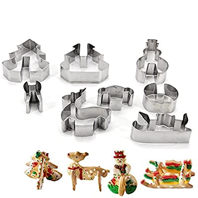 New Arrival 8 Piece Stainless Steel Christmas Molds for Baking Cakes Biscuits Fruit Cookies Cutter