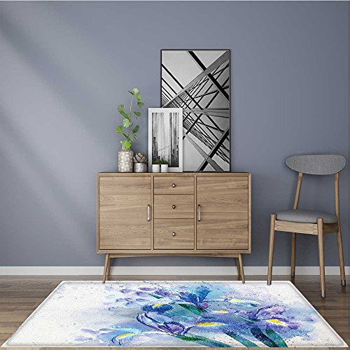 Stain Resistant Flower Background with Pretty Irises in Fresh Colors Earth Spirit Rug for Kitchens W47 x L71 INCH