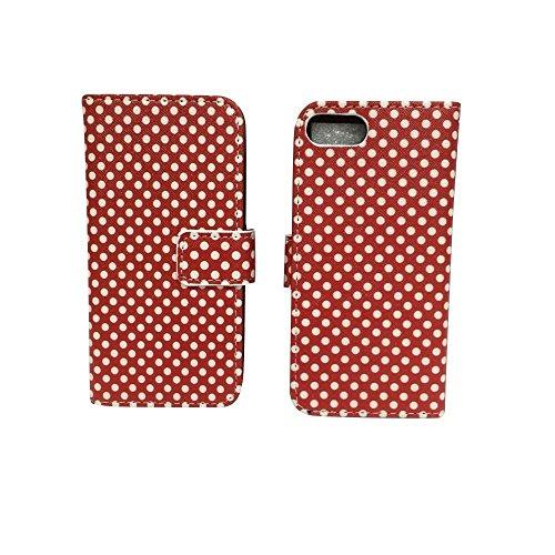 König-Shop Apple iPhone 7 Handy Hülle Tasche Case Cover Wallet Kunstleder Motiv Polka Dot Rot