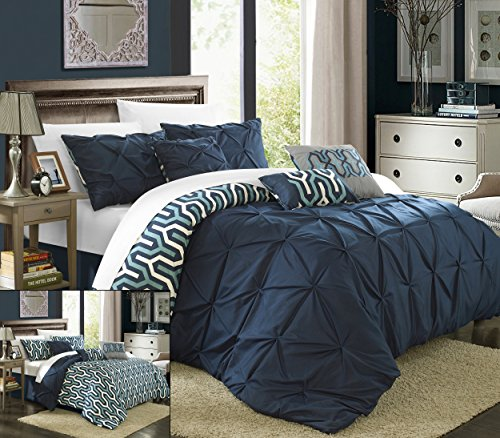 Chic Home 7 Piece Trenton Reversible Contemporary Comforter Set, Queen, Navy - Custom Drop Pleated Bed Skirt