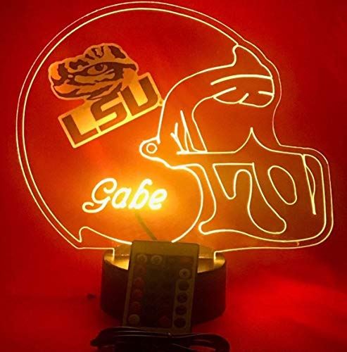 LSU Tigers NCAA College Football Helmet Light Lamp Light Up LSU Tigers Table Lamp LED with Remote, Our Newest Feature - It's Wow, with Remote 16 Color Options, Dimmer, Free Engraving, Great Gift