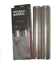 Double Barrel Pellet Smoker - Ideal BBQ Accessories - Pellet Smoker Tube for Smoking On Any Gas Or Electric BBQ - Hot/Cold Smoking – Real Wood Smoke Flavour - Stable No Roll Design - Easy Clean
