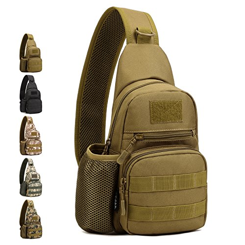 Protector Plus Huntvp Small Tactical Sling Chest Pack Bag Molle Daypack Backpack iPad Mini Military Shoulder Bag Crossbody Duty Gear for Hunting Camping Trekking