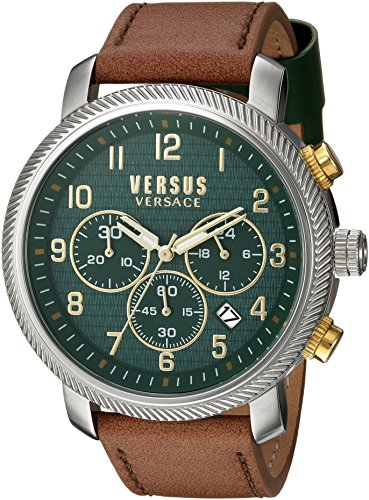 Versus-by-Versace-Mens-HOXTON-SQUARE-Quartz-Stainless-Steel-and-Leather-Casual-Watch-ColorBrown-Model-S70040016