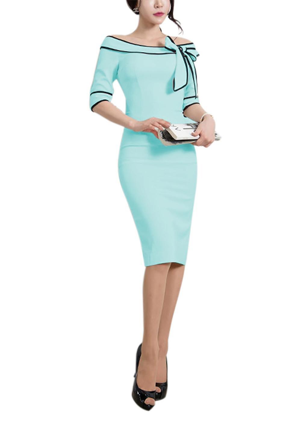 HELYO Career Female Work Dresses for Women Knees Length Summer Elegant Bodycon Pencil Dress 172 (XL, Blue)