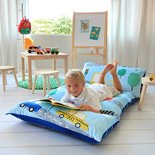 Butterfly Craze Kids Floor Pillow Bed Cover - Use as Nap Mat, Portable Toddler Bed Alternative for Sleepovers, Travel, Napping, or as a Lounger for Reading, Playing. Cover Only!