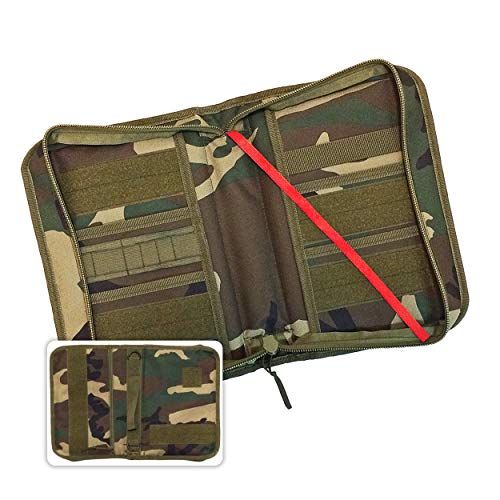 (Military Style Medium Bible Cover & Organizer for Men - Personalize Your Camo Bible Case with Morale Patches That Reflect Your Beliefs. (Woodland Camouflage))