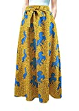 Multifit Women African Print A Line Pleated High Waist Expansion Skirt Maxi Skirt Casual Long Skirt(Horse)yellow  one size