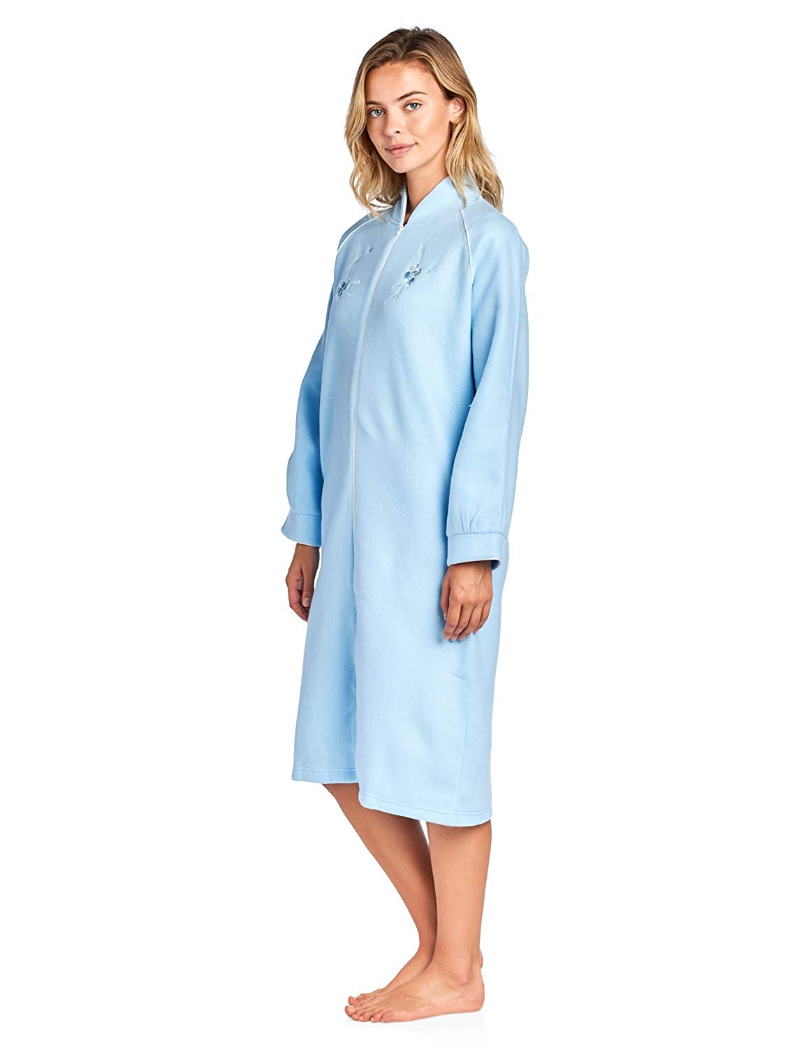 913113a591 Casual Nights Women s Zip Up Front Long Fleece Robe House Dress at Amazon  Women s Clothing store
