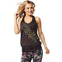 Zumba Women's Get Hyped Up Bubble Tank Top, Cyberspace, X-Small/Small