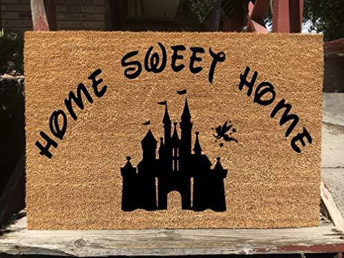KiwiCraftdom - Home Sweet Home with Tinker Bell Castle - Disney Inspired Doormat - Large Welcome Door Mat - Cute Housewarming Gifts - Fun Birthday - Tinkerbell Castle