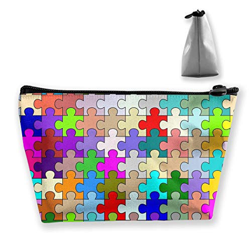 Makeup Bag Trapezoidal Storage Bag Jigsaw Puzzle Line Portable Cosmetic Bag Ladies Mobile Travel Bag