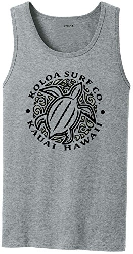 Mens New Cotton Hawaiian Shirt (Joe's USA Koloa Surf Hawaiian Honu Turtle Logo Cotton Tank Top-AthHeather/b-L)
