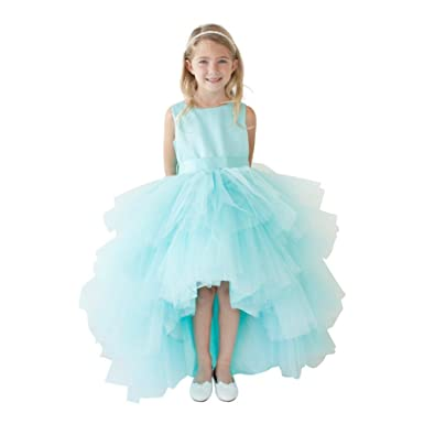 4dfd9fa629 5658 Ruffled Tulle High Low Dress (Aqua, 2). Roll over image to zoom in. Tip  Top Kids