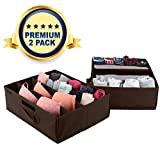 Navy Penguin Underbed Storage Drawer Organizer - 2 Pack - Under Bed Storage Container Underbed Box Closet Dresser Organizer Bra Shoe Clothes Underwear Socks - Comes with Removable Dividers (Brown)