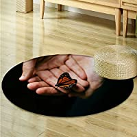Round Area Rug Butterfly on hand Living Dinning Room & Bedroom Rugs -Round 31