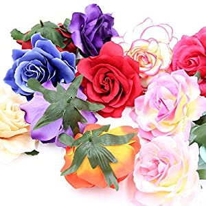 10PCS 9CM Decorative Artificial rose Flower Heads For Wedding Party Decoration DIY Wreath Gift Box Scrapbooking Craft Fake Flowers 48