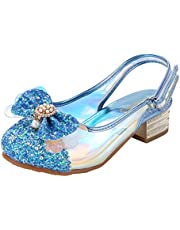 Wangwang Girls Kids Dress Sandal Colorful Pearl Bow Low Heel Shoes for Wedding, Dress, Dance