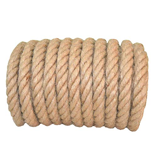 Twisted Manila Rope Jute Rope 100 Feet Natural Thick Hemp Rope for Crafts, Nautical, Landscaping, Railings, Hanging Swing(1 Inch Diameter) by YuzeNet (Image #2)