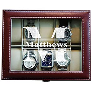 Custom Personalized Watch Storage Box Case – Name Initial – Groomsmen Fathers Day Gift – Engraved