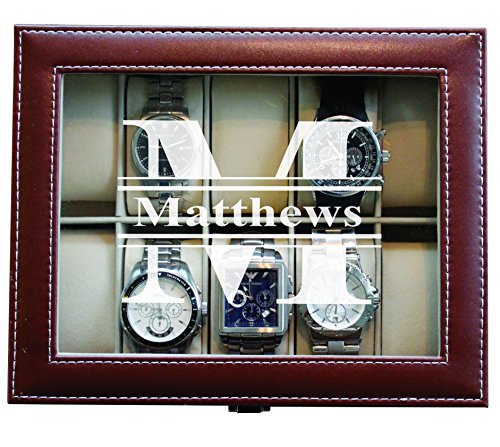 Engraved Personalized Brown Watch Storage Box Case – Name Initial – Groomsmen Fathers Day Gift – Custom