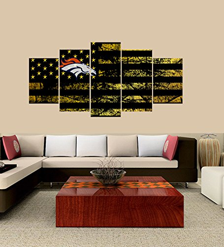 Broncos Canvas - PEACOCK JEWELS [Large] Premium Quality Canvas Printed Wall Art Poster 5 Pieces / 5 Pannel Wall Decor Denver Broncos Logo Painting, Home Decor Football Sport Pictures- Stretched