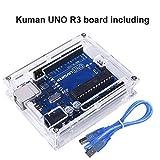 Kuman UNO R3 Board ATmega328P with USB Cable for Arduino - Compatible with Arduino UNO R3 Mega 2560 Nano Robot for Arduino IDE AVR MCU Learner K53 (UNO R3 Board+Acrylic Box)